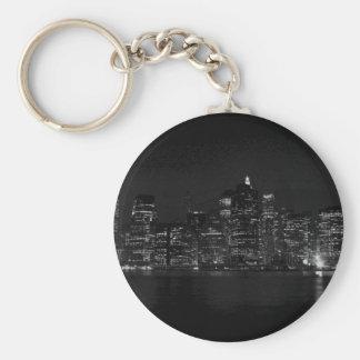 Black & White New York City Basic Round Button Keychain