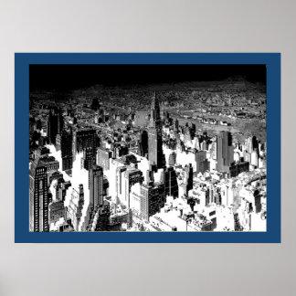 Black White New York City Blue Border Poster