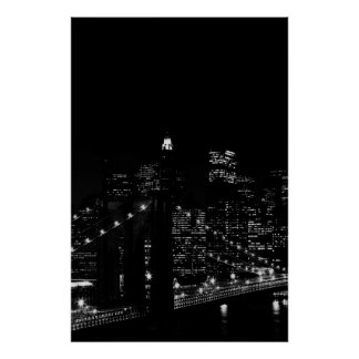 Black & White New York City Brooklyn Bridge Poster
