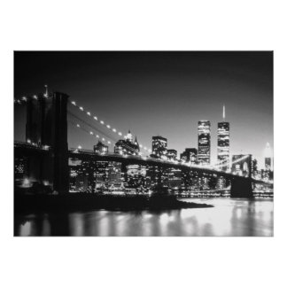 Black White New York City Brooklyn Bridge Poster