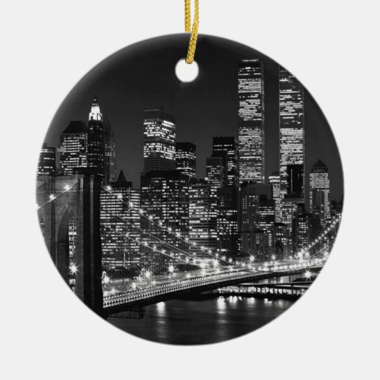 Black & White New York City Ceramic Ornament
