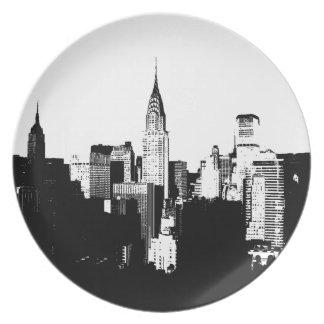 Black & White New York City Dinner Plate