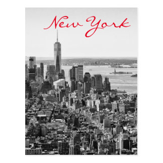 Black White New York City Manhattan Postcard