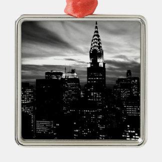 Black & White New York City Midtown Metal Ornament