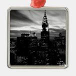 Black & White New York City Midtown Square Metal Christmas Ornament
