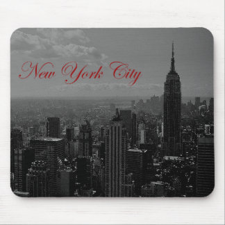 Black White New York City Mouse Pad
