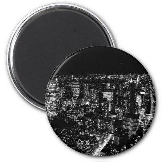 Black & White New York City Night 2 Inch Round Magnet
