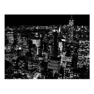 Black White New York City Night Artwork Postcard