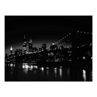 Black & White New York City Night Artwork Poster