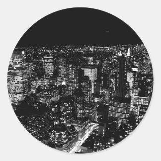 Black & White New York City Night Classic Round Sticker