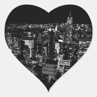Black & White New York City Night Heart Stickers