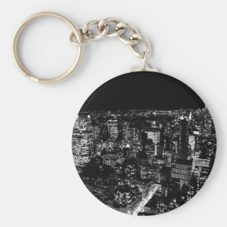 Black & White New York City Night Keychain