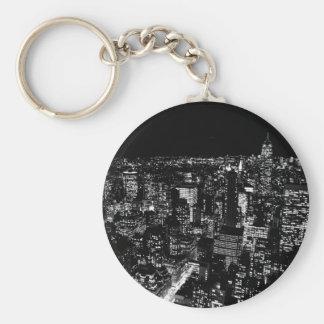 Black & White New York City Night Keychain
