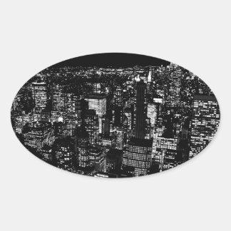 Black & White New York City Night Oval Sticker