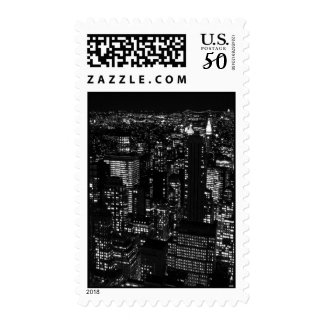 Black & White New York City Night Postage