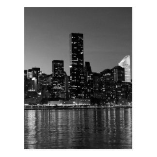 Black White New York City Night Postcard