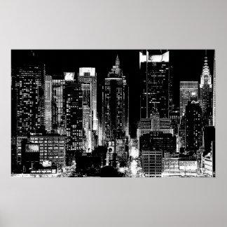 Black & White New York City Night Poster