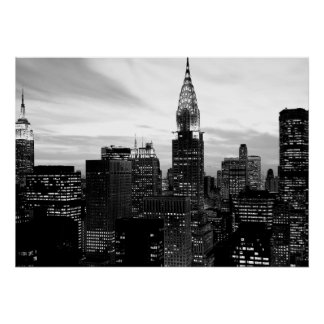 Black White New York City Night Poster