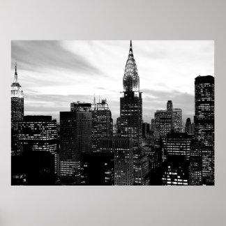 Black White New York City Night Poster
