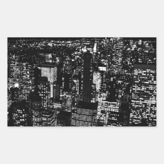 Black White New York City Night Rectangle Stickers