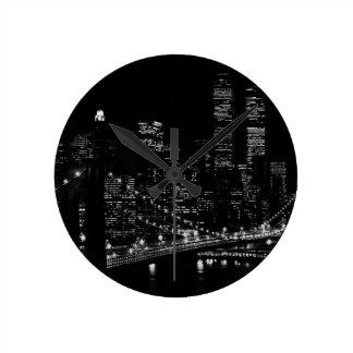 Black & White New York City Night Round Clock
