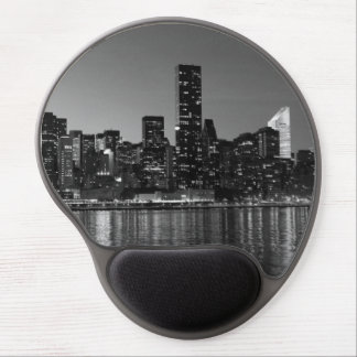 Black White New York City Night Skyline Gel Mouse Pad