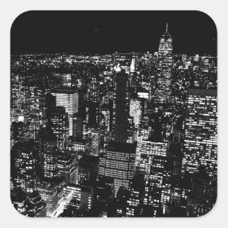 Black & White New York City Night Square Sticker