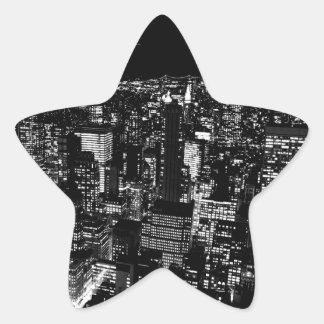 Black & White New York City Night Star Sticker
