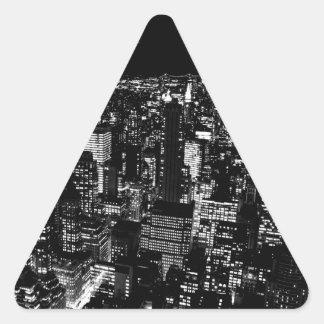 Black & White New York City Night Triangle Sticker