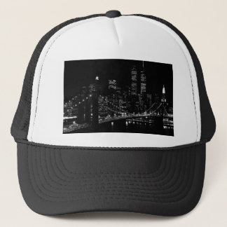 Black & White New York City Night Trucker Hat