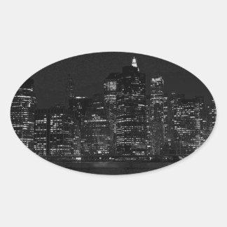 Black & White New York City Oval Sticker