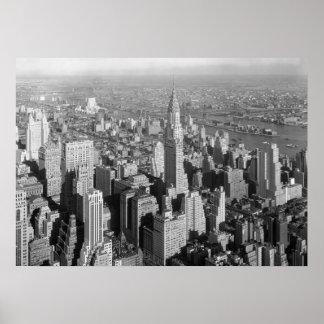 Black White New York City Panorama Artwork Poster