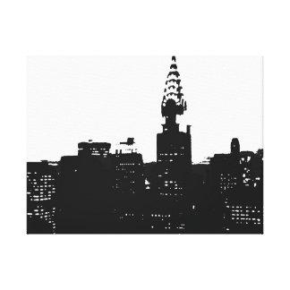 Black White New York City Pop Art Wrapped Canvas