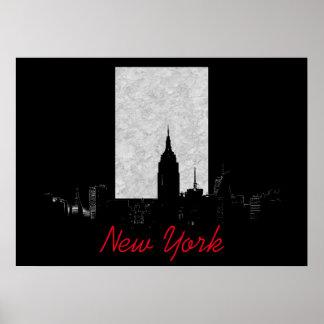 Black White New York City Poster