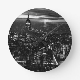 Black & White New York City Round Clock