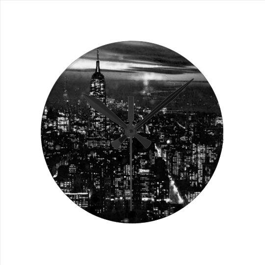 Black & White New York City Round Clock