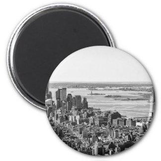 Black White New York City Skyline 2 Inch Round Magnet