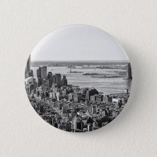 Black White New York City Skyline Button