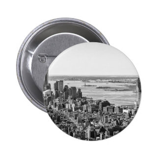 Black White New York City Skyline Button
