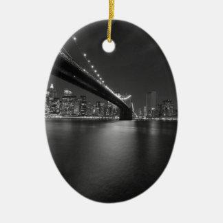 Black White New York City Skyline Ceramic Ornament