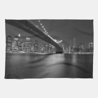 Black White New York City Skyline Hand Towel