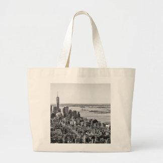 Black White New York City Skyline Large Tote Bag