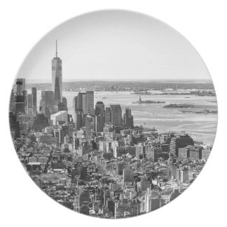 Black White New York City Skyline Melamine Plate
