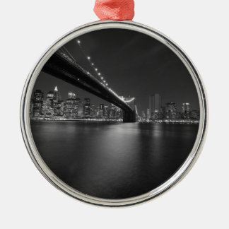 Black White New York City Skyline Metal Ornament