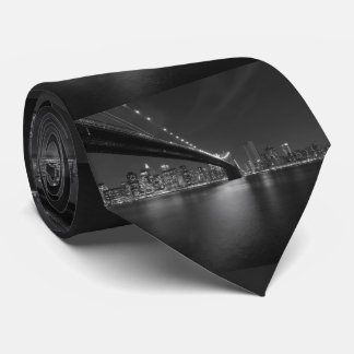 Black White New York City Skyline Neck Tie