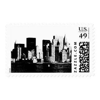 Black White New York City Skyline Postage