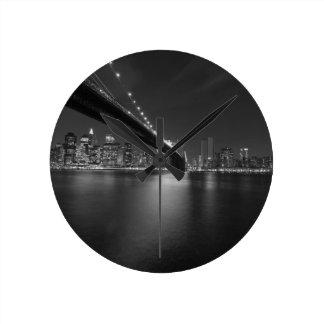 Black White New York City Skyline Round Clock