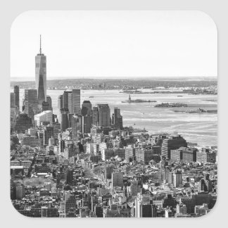 Black White New York City Skyline Square Sticker