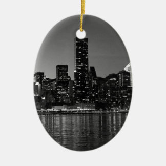 Black White New York City Skyscapers Silhouette Ceramic Ornament