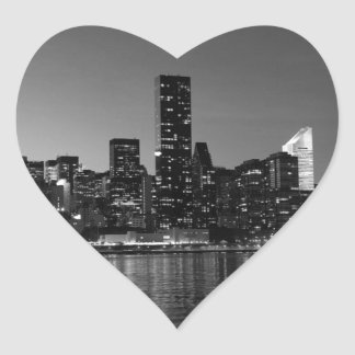 Black White New York City Skyscapers Silhouette Heart Sticker